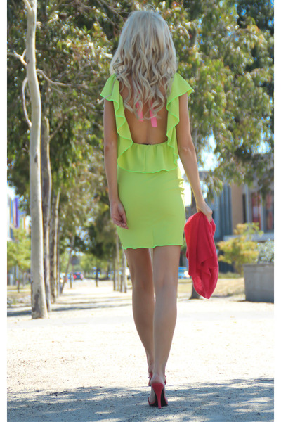 lime green ruffle dress Justyna G dress