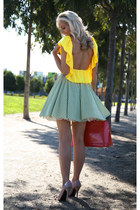 yellow Justyna G top - red alma Louis Vuitton bag - green Justyna G skirt