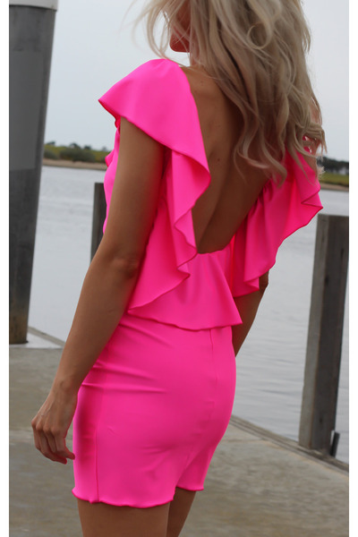 hot pink neon ruffle Justyna G dress