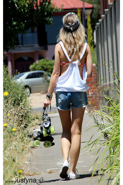 white Justyna G top - Zara shorts - orange Victorias Secret swimwear