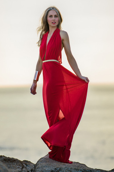 red Justyna G dress - gold sandals tony bianco sandals