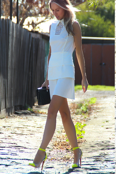 yellow Christian Louboutin heels - white Justyna G dress