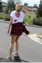 white Justyna G t-shirt - Zara shirt - glitter Converse sneakers