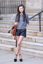 Leather shorts shorts - H&M sweater - H&M shirt
