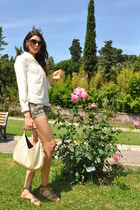 white 31 philip lim shirt - olive green Zara shorts - light pink Prada sunglasse