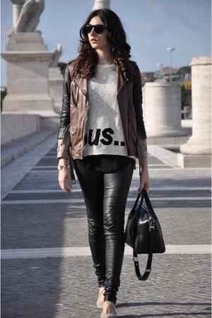 ivory Zara sweater - brown 31 Phillip Lim jacket - black Givenchy bag