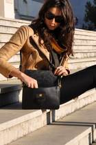 gold SANDRO jacket - black Prada bag - black dvf pants