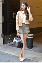 green Fendi shorts - gold leather SANDRO jacket - cream vintage shirt