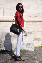 red Richmond jacket - black Givenchy bag - white Alexander McQueen top