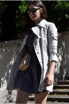 navy vintage dress - beige Roberta Scarpa jacket - neutral Celine bag