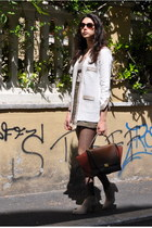 army green H&M skirt - tan unknown shoes - white Stefanel vest