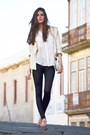 White-chiffon-zara-shirt-bubble-gum-h-m-earrings-black-mango-pants