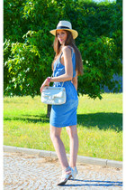 sky blue Mango dress - white Chanel bag