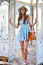 sky blue Romwecom dress - beige H&M hat - bronze Romwecom bag