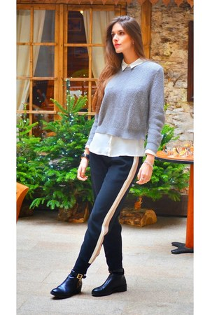 silver Mango sweater - black Zara pants