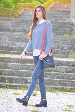 red Pursenalist bag - heather gray Mango sweater