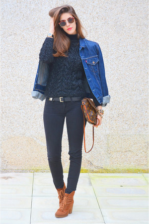 navy denim Levis jacket - black wool made by mom sweater