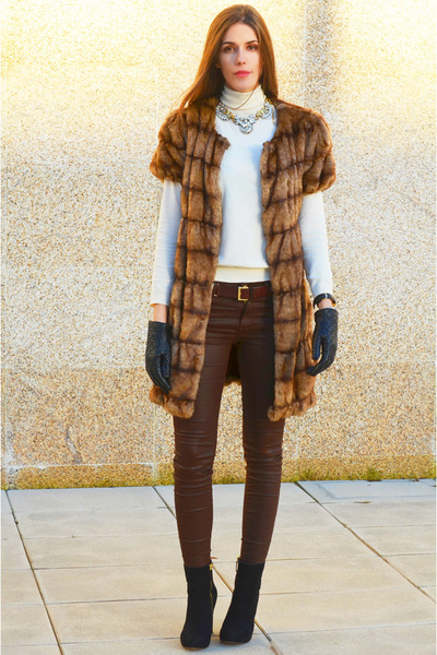 bronze Zara coat - brown Zara pants