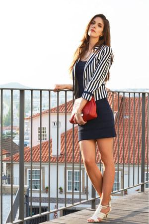 navy H&M blazer - navy cotton Mango dress - red leather vintage bag