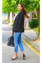 black Zara blazer - gold vintage accessories