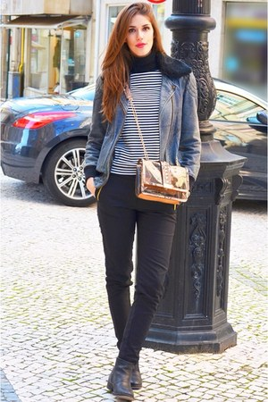 white Mango sweater - cashmere Mango sweater - black leather Pepe Jeans jacket