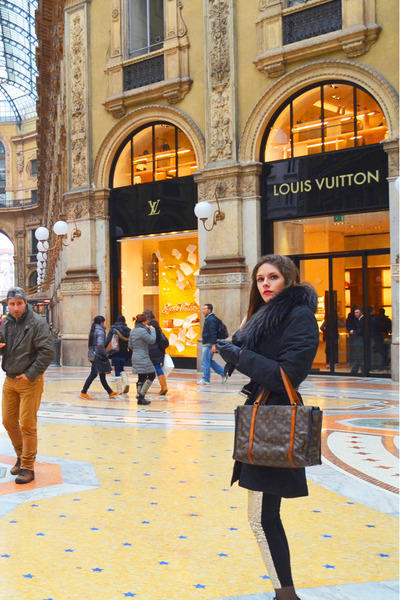 black Henry Cottons coat - beige glitter romwe pants - red Chanel ring