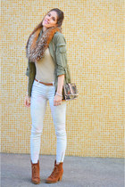 olive green H&M jacket - beige cotton Mango sweater - bronze vintage scarf