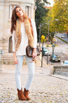 bronze leather Gluen vest - light blue denim Topshop jeans