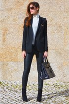black Zara jacket - white cashmere Mango sweater
