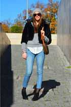 black Valentino coat - light blue denim Mango jeans - silver angora H&M sweater