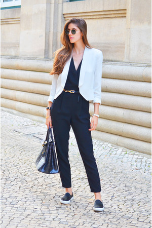 white Mango blazer - black Mango top