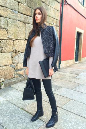 tan Massimo Dutti sweater - black Zara jacket