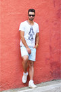 White-nike-sneakers-sky-blue-denim-zara-shorts-white-cotton-solid-t-shirt