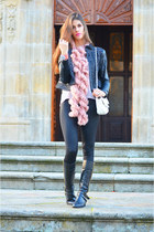 pink Pierre Cardin scarf - white leather Chanel bag - black leather Mango pants