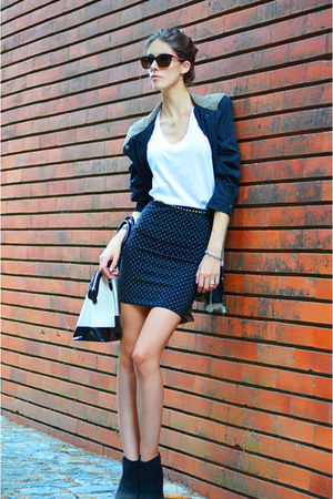 dark khaki romwe jacket - black romwe skirt - white cotton Topshop t-shirt