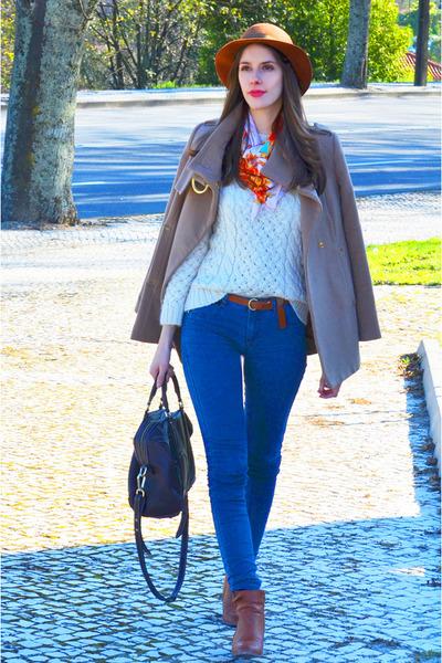 camel cashmere Mango coat - navy denim J Brand jeans