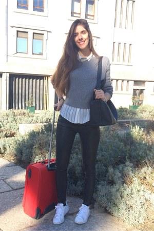 silver Mango sweater - periwinkle Massimo Dutti shirt - black leather Chloe bag