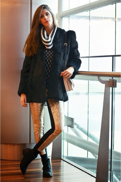 gold sequins romwe pants - black vintage coat