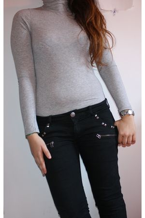 gray brandy shirt - black H&M jeans - silver Moschino accessories