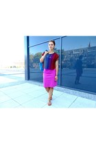 pink SASKA skirt - red Primark top