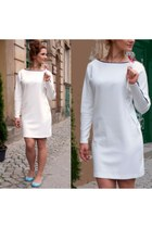 white cotton SASKA dress - sky blue Melissa flats