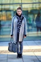 silver SASKA coat - black gino rossi shoes - heather gray gino rossi bag