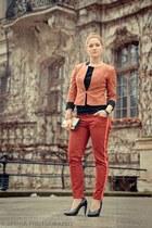 orange Saska Fashion jacket - ruby red Zara pants