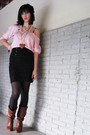Brown-deb-shoes-black-skirt-pink-2nd-hand-shirt-black-accessories-white-