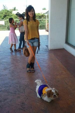 Milano sandals - messengers bag Mango bag - mini shorts H&M shorts