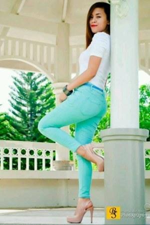blue H&M belt - turquoise Bershka jeans - white shirt Forever 21 top