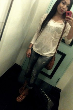 H&M jeans - Mango bag - strappy wedges wedges - Forever 21 accessories - Trunksh