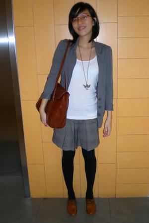 black Topshop tights - brown Mimosa shoes - brown necklace - gray David Bitton