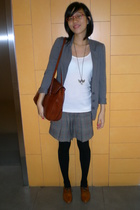 black Topshop tights - brown Mimosa shoes - brown necklace - gray David Bitton