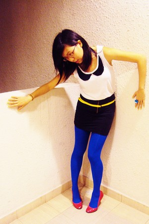 red Newlook shoes - blue Topshop tights - yellow Bugis Street belt - white Siste